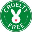 Vector cruelty free badge with heart and rabbit. Sign against animal testing.